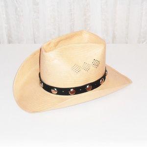 Vtg Leone Cappelli Straw Western Rancher Hat 7 1/8